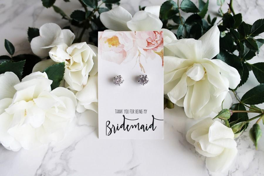 "Mariage - Margot- 18k White Gold plated, Cubic Zirconia ""Will you be my bridesmaid?"" Gift Earrings"