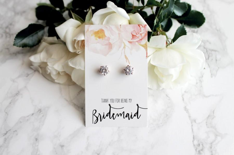 """Свадьба - Margot- 18k Rose Gold plated, Cubic Zirconia """"Will you be my bridesmaid?"""" Gift Earrings"""