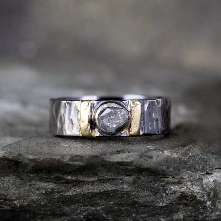 Mariage - Men's Raw Diamond Ring - Black Sterling Silver - 14K Yellow Gold Accent Bars - Rustic Texture - Wedding Band - Commitment Rings