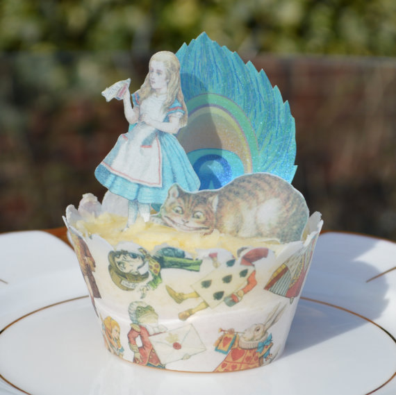 Свадьба - Edible Alice in Wonderland Peacock Feathers Gift Set - Mad Hatter Cheshire Cat Party Decorations Wafer Paper Cupcake Christmas Queen Hearts