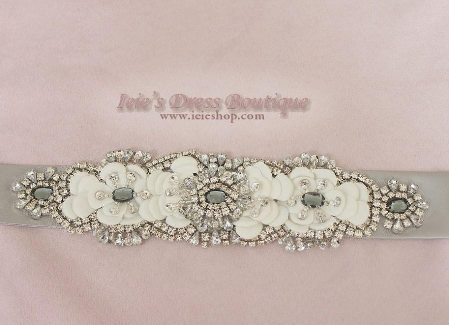 Свадьба - Silver Moire Crystal Rhinestone Jeweled Bridal Sash RB12101