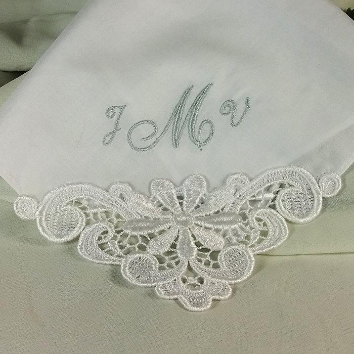 Wedding - Wedding Hankerchief Personalized Embroidered Cotton Monogrammed Bridal 9301C