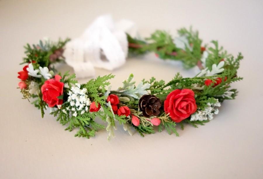 "Hochzeit - Christmas Head Wreath, Winter Flower Crown, Woodland Floral Crown, Woodland Headdress, Christmas  Crown, Bridal Flower Crown, ""DECEMBER"""