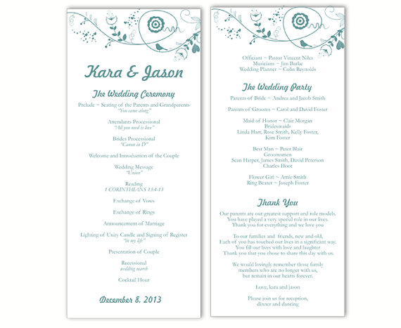 Свадьба - Wedding Program Template DIY Editable Word File Instant Download Program Blue Program Bird Program Floral Printable Wedding Program 4x9.25