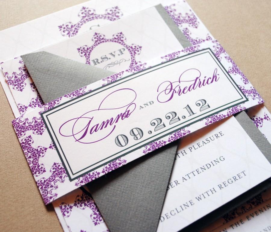 Mariage - Purple Wedding Invitation, Elegant Wedding Invitations in Purple and Grey, Wedding Invitations Printable, Purple and Grey Invitations Set
