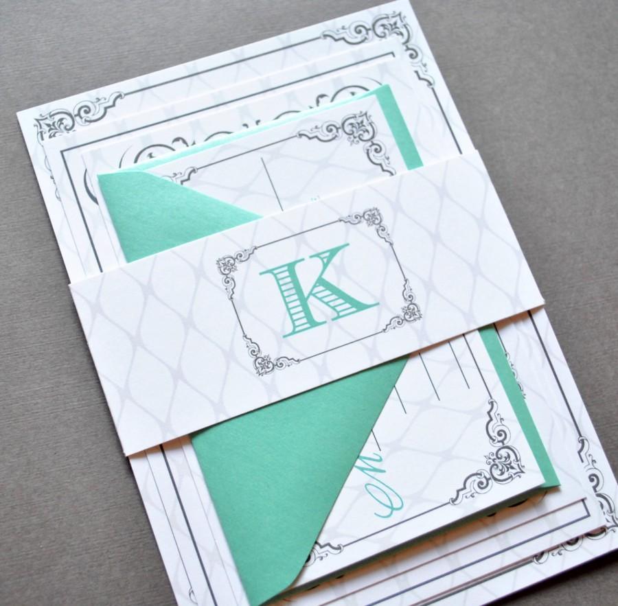 Mint Green Wedding Invitations Teal Grey Wedding