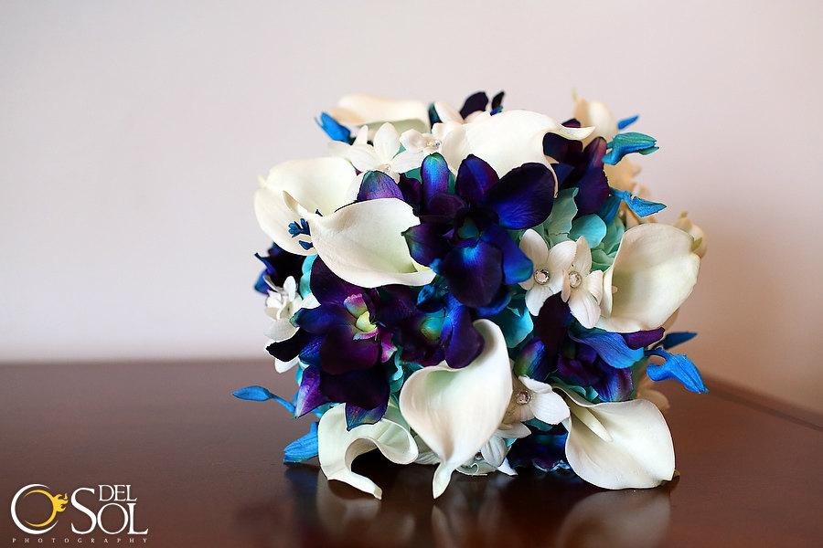 Mariage - Rebecca's Bridal Bouquet Aqua Hydrangeas, Blue Violet Dendrobuim Orchids,White Calla Lilies