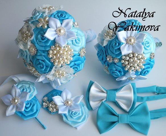 Mariage - Brooch Bouquet, Bridal Bouquet, Wedding Bouquet, Fabric Bouquet, Unique Bouquet, Toss bouquet, Wedding Accessories, Wedding set, blue wite