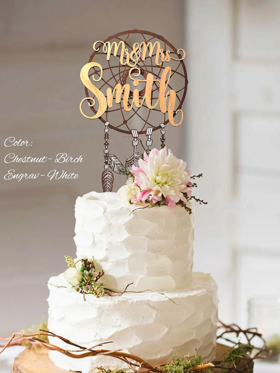 Hochzeit - Boho Cake Topper. Boho wedding cake topper. Mr and Mrs Custom Surname Cake Topper. Personalized Surname Boho Cake Topper. 3D Boho Topper.