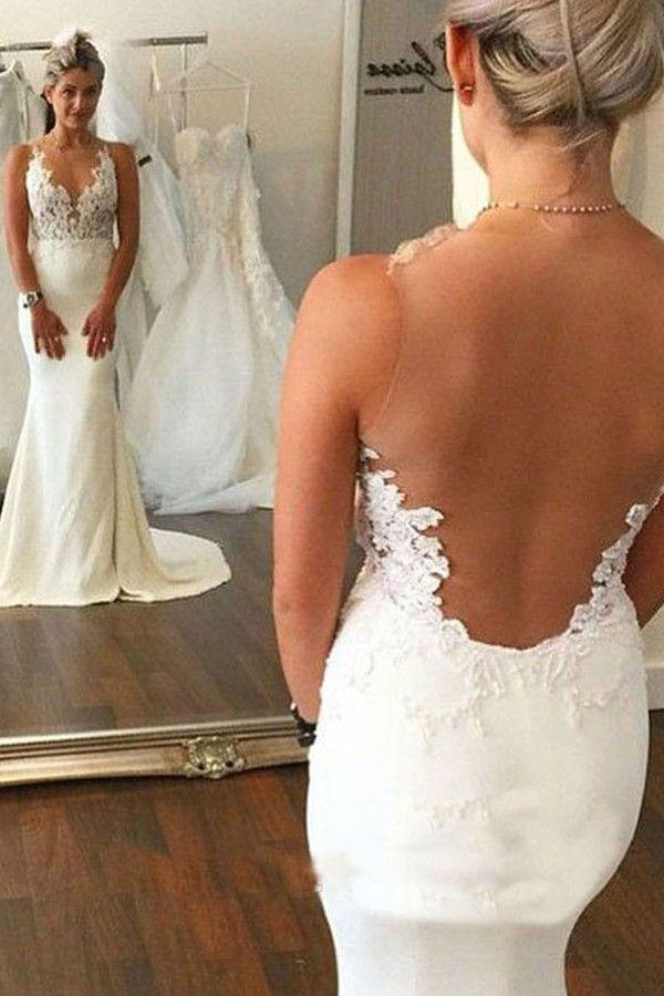 Wedding - High Quality Mermaid Sleeveless Sweep Train Wedding Dress WD017