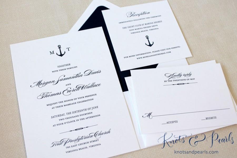 Mariage - Anchor Wedding Invitations, Nautical Wedding Invitations, New England Wedding Invitations, Anchor Monogram Wedding Invitations