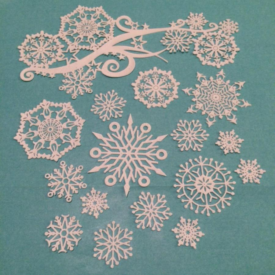 Mariage - Edible Lace Snowflakes Swirl Complete set 15 snowflakes plus 1 Swirl cake lace  *NOT the mat*
