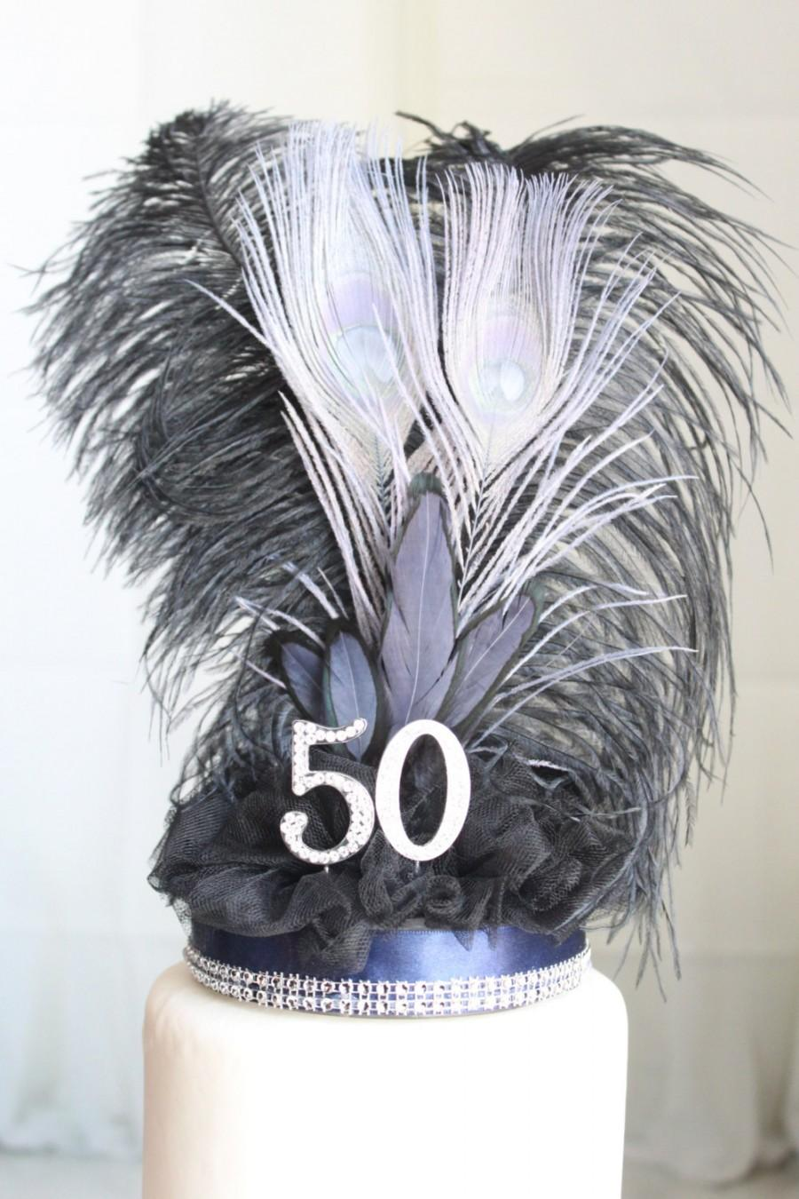 Wedding - Gatsby navy, black and silver feather cake topper