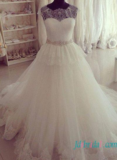 Wedding - Illusion lace top peplum princess wedding dress