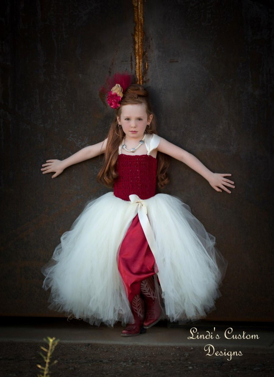 Wedding - Flower Girl Autumn Fall Wedding Tutu Dress, Flower Girl Tutu, Hand Crochet Top, Burgundy Wine and Ivory with Fabric Half Slip Liner