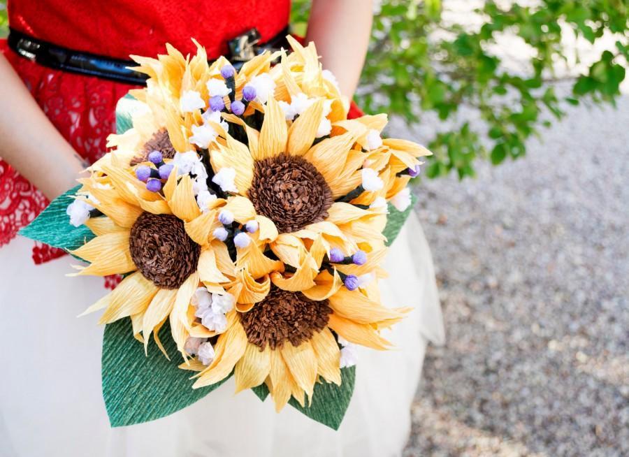 Handmade Paper Sunflowers Bouquet, Crepe Paper Flower, Wedding ...