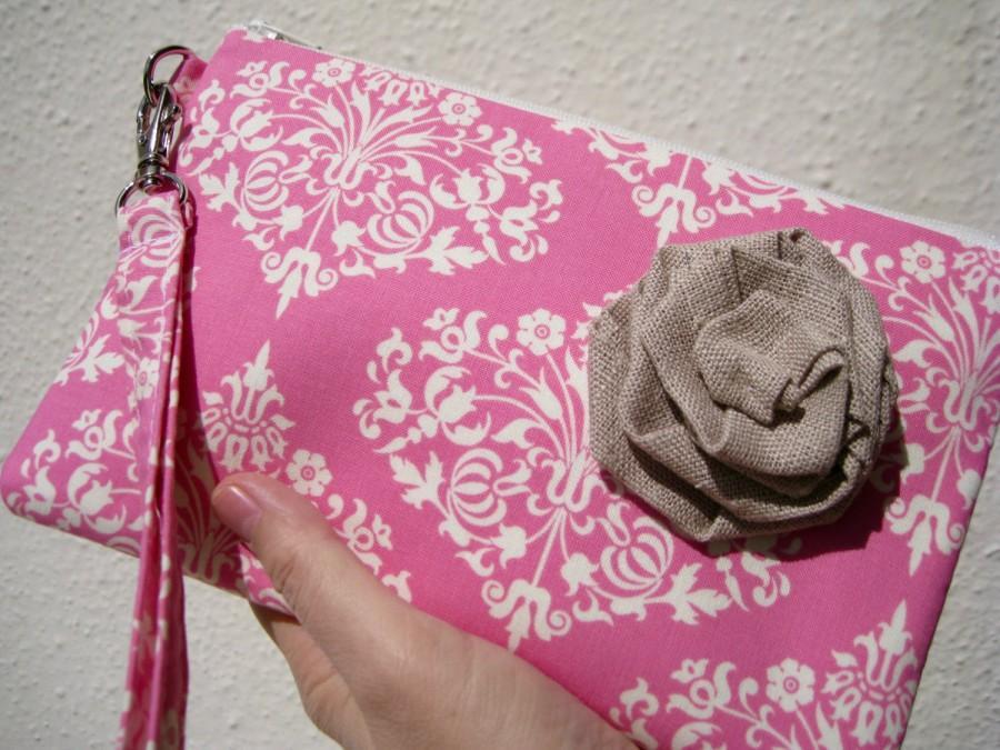 Wedding - Wedding Clutch 2 pockets,medium,yellow,damask,discount plan set, wristlet, cotton,- Park fountains pink