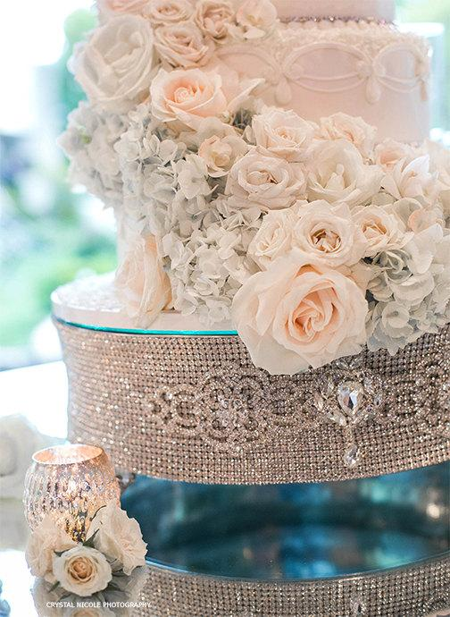 """Wedding - 18"""" ROUND Silver Rhinestone Cake Stand for Wedding, Anniversary, Birthday, Quinceanera, any Special Event"""