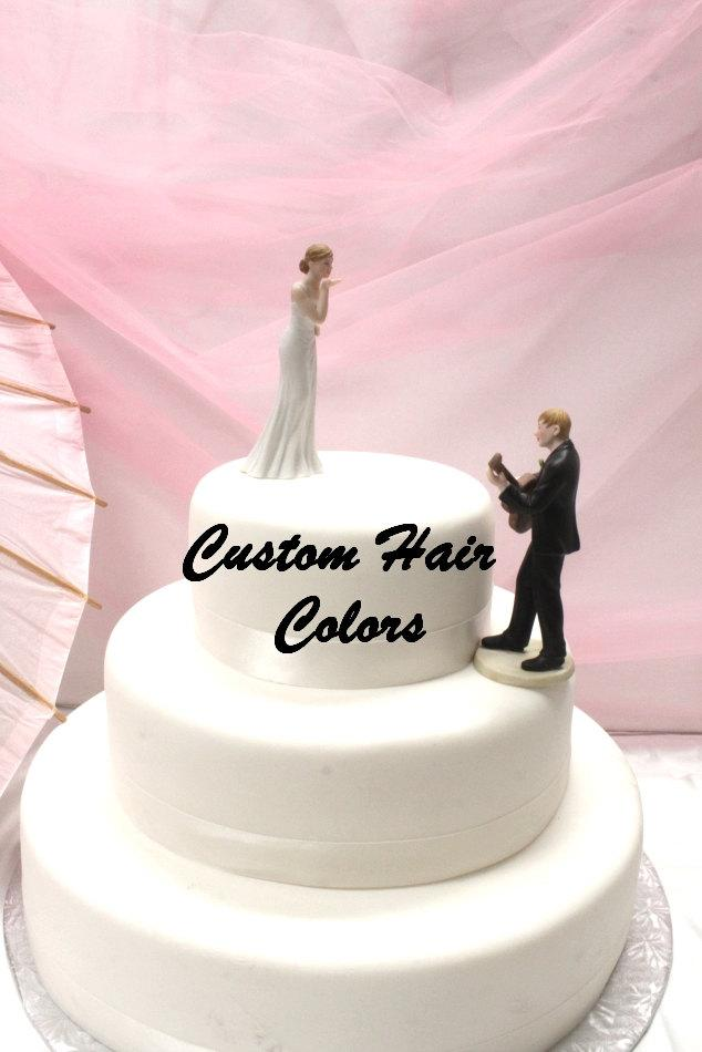 Wedding - Personalized Wedding Cake Topper - Wedding Couple - Musician Wedding Cake Topper - Weddings - Cake Topper - Guitar Playing Groom