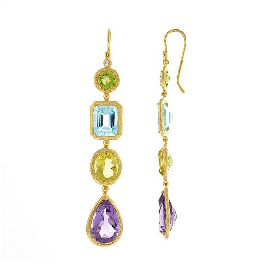 Hochzeit - Multi-Color Gemstone & Diamond Dangle Textured Earrings 18k Yellow Gold, Anniversary Gifts for Women, Jewelry Gift Ideas, Drop Earrings