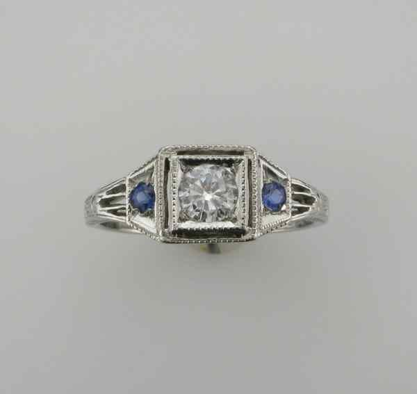Hochzeit - Platinum Diamond and Blue Sapphire Filigree Ring; Promise Ring; Sapphire Wedding Ring; Alternative Wedding Ring