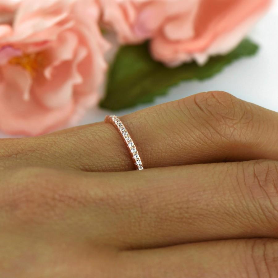 زفاف - Delicate Half Eternity Wedding Band, Bridal Ring, 1.5mm Stacking Ring, Round Man Made Diamond Simulants, Sterling Silver, Rose Gold Plated