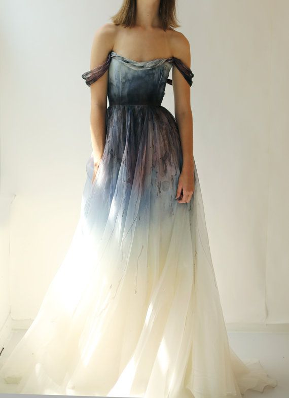 Dress - Hand-painted And Dyed Silk Organza Gown #2619234 - Weddbook