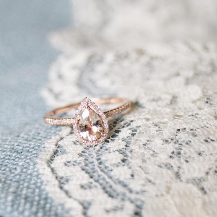 Hochzeit - Diamond Halo Rose Gold Morganite Engagement Ring, Rose Gold Morganite Ring, Diamond Halo around Morganite