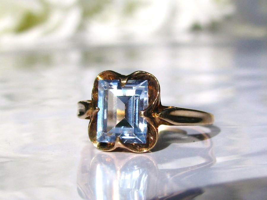 Hochzeit - Art Deco Blue Spinel Ring Alternative Engagement Ring 10K Yellow Gold Wedding Ring Something Blue Vintage Bridal Jewelry
