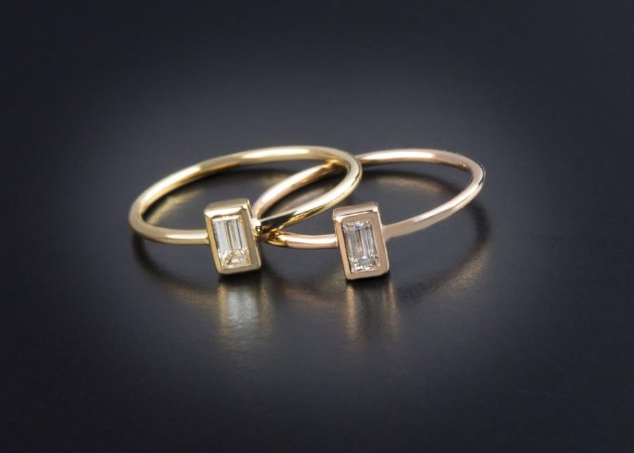 Hochzeit - Diamond Baguette, Diamond ring, Engagement Ring, anniversary ring, gold Baguette, Ring Engagement, K18 Soid Gold, Wedding Ring, guarantee