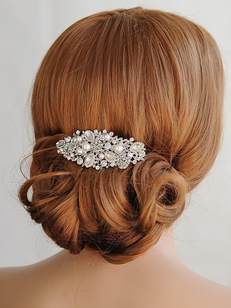 زفاف - Swarovski Pearl Bridal Hair Comb, Crystal Wedding Hair Comb, Rose Flower Hair Clip, Bridal Hairpiece, Vintage Style Hair Jewelry, ROSA