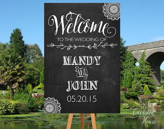 Mariage - Chalkboard Wedding Welcome Sign, Printable Chalkboard Welcome sign, Wedding Welcome Sign, Welcome Sign, Welcome Poster, WS021