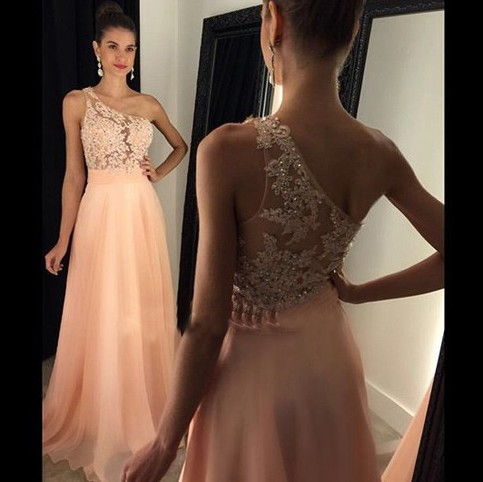 Wedding - Charming Floor Length Prom Dress - Pink One Shoulder A-Line with Appliques from Dressywomen