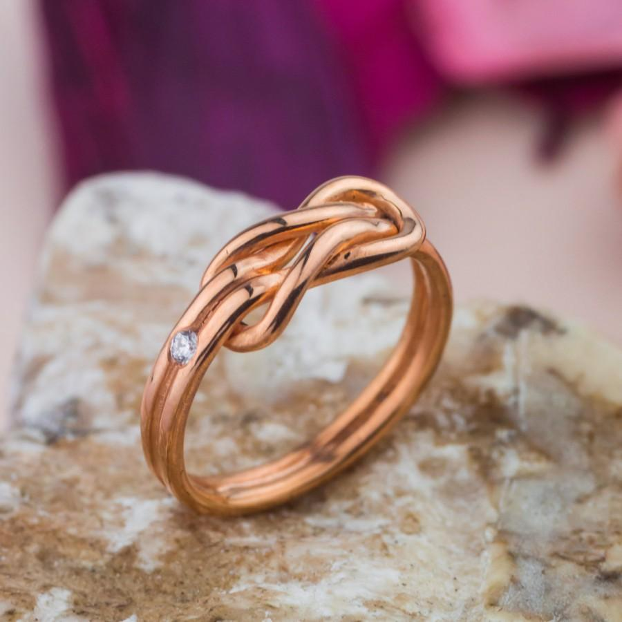 Hochzeit - Knot Engagement Ring in 14K Pink (Rose) Gold set with Natural Diamond, Engagement Rose Gold Ring, Brilliant Cut Diamond, Handmade Jewelry