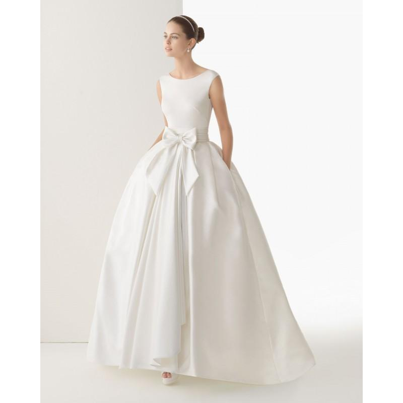 Simple ball gown straps bow s pockets sweep brush train for Plain wedding dresses with straps