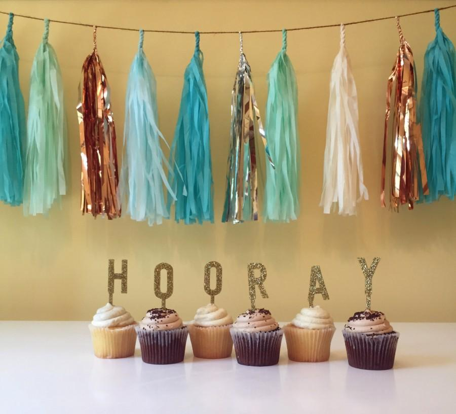 Mariage - Hooray! - Acrylic Glitter Gold - Cake Topper - Individual Letters
