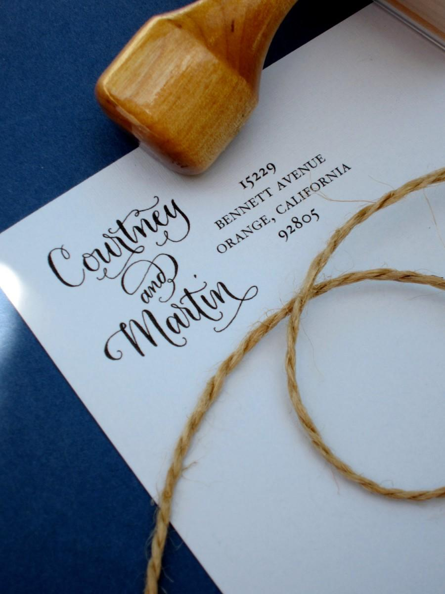 Mariage - Custom Handwritten Calligraphy Address Stamp -- Side by Side Calligraphy and Type -- Vintage Reserve Style