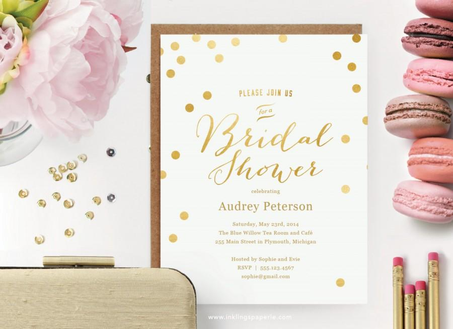 Wedding - Printable Bridal Shower Invitation  // White with Gold Dots  // Editable Instant Download