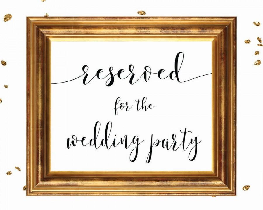 Wedding - RESERVED WEDDING PARTY, wedding sign printable, wedding signage, bridal signs, calligraphy signs, printablestyles