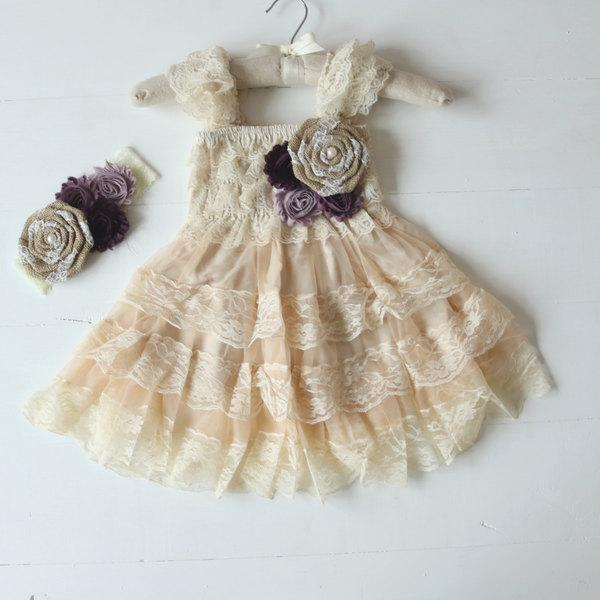Свадьба - Purple Rustic Flower Girl Dresses, Country Rustic Flower Girl Dress, Burlap Flower Girl Dress, Flower Girl Dress, Rustic Wedding, Girls