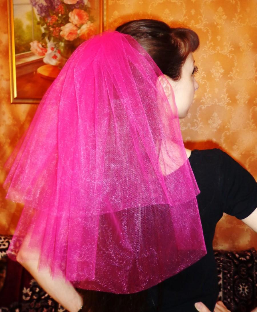 Wedding - Brautschleier für einen Junggesellenabschied, Henne-Partei, Schleier für Henneparty,  Hochzeit, Handarbeit rosa 2-lagig