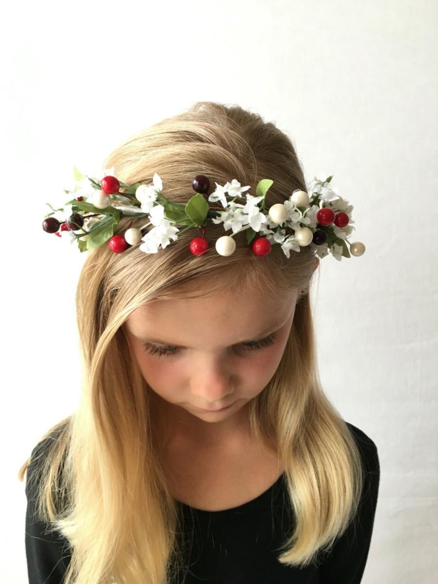 Wedding - Winter Flower Crown, White Flower Crown, Bridal Wreath, Christmas Wreath, Headband - The Holly Flower Crown