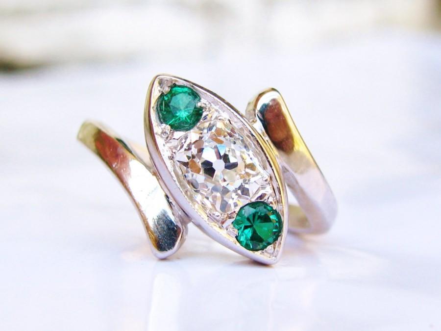 Mariage - Antique Engagement Ring 0.35ct Old Mine Cut Diamond Three Stone Bypass Ring 14K White Gold Art Deco Diamond Wedding Ring Anniversary Ring