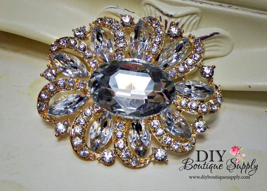 Свадьба - Large Gold Rhinestone Brooch - Gold Wedding Brooch Pin - Crystal Brooch pin- Bridal Wedding Accessories Cake Brooch Sash Pin 65mm 682198