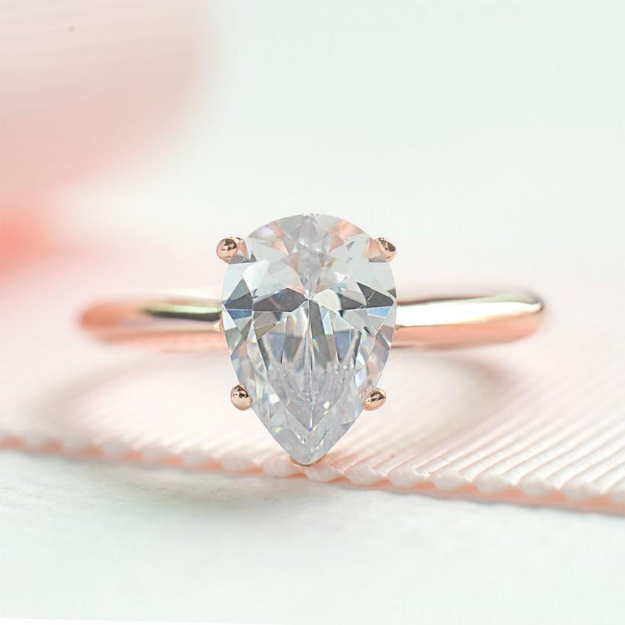 Hochzeit - Pear Cut Engagement Ring - Teardrop Proposed Ring - Rose Gold Wedding Ring - Pear Shaped Ring - CZ Sterling Silver Ring - A16