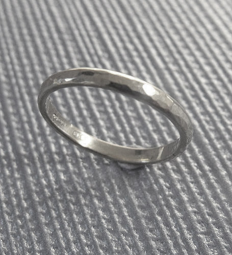 Mariage - Sterling silver wedding ring Jewelry - hand hammered