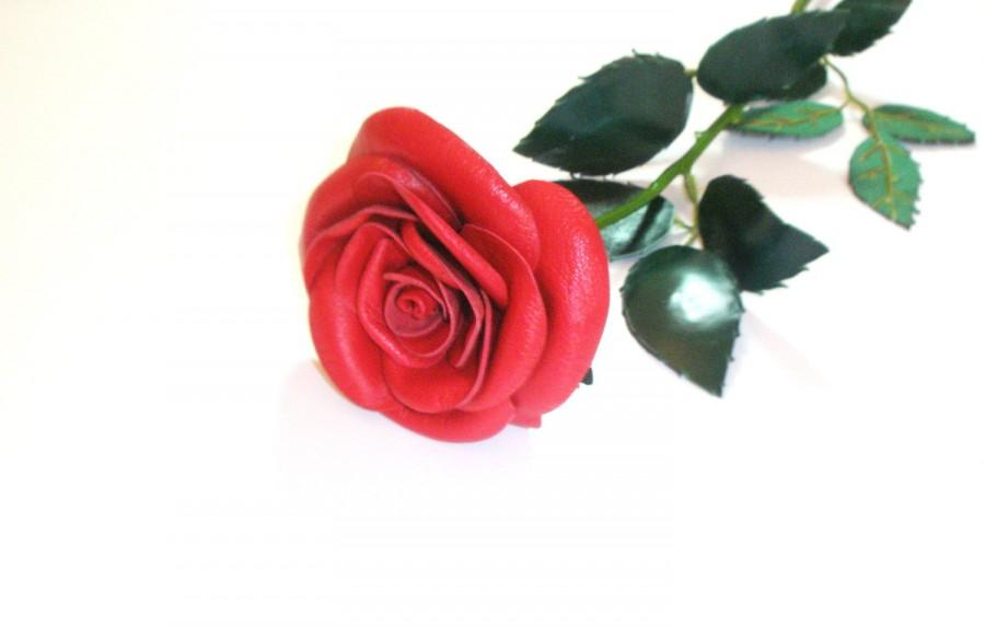 classic red rose single stem flower leather bouquet wedding 3rd, Ideas