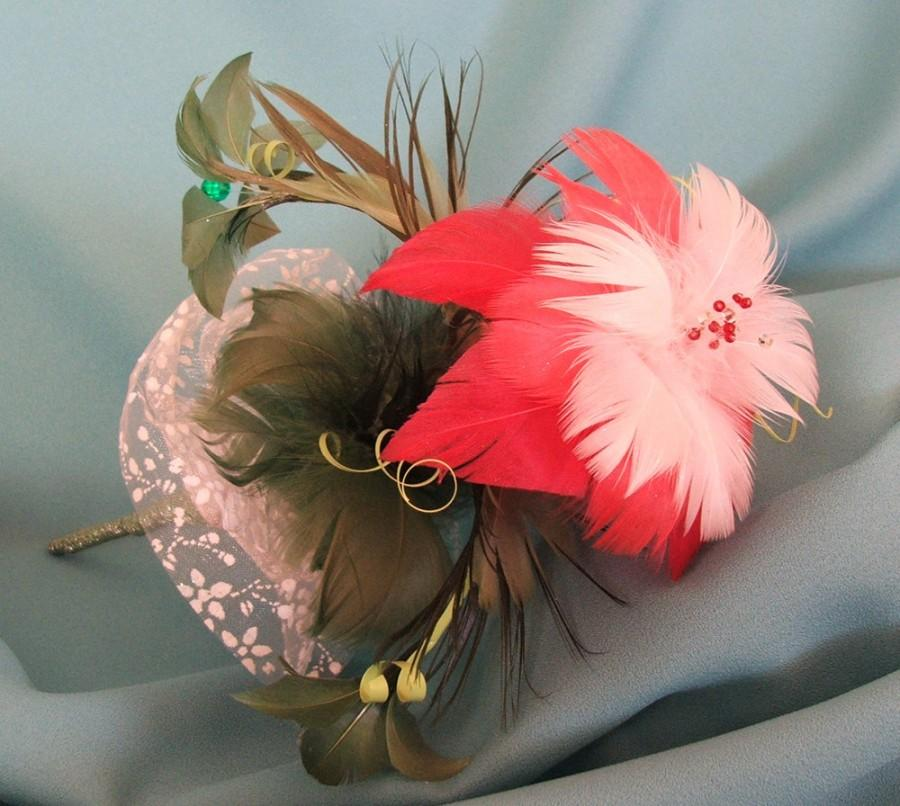 """Wedding - Real Feather Flower Bouquet """"Morning Blossom"""" - Natural Feather Bridal Bouquet – Bridesmaid Bouquet - White – Pink - Red - Green"""