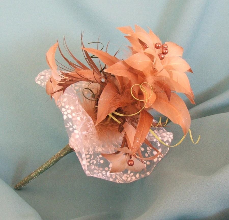 "Wedding - Real Feather Flower Bouquet ""Little beauty"" - Natural Feather Bridal Bouquet – Bridesmaid Bouquet - Centerpiece- Gold – Brown - Beige"
