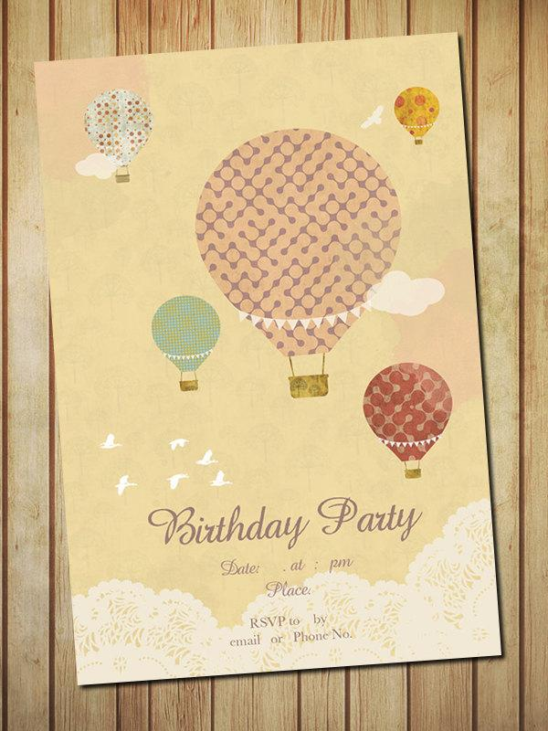 Wedding - Hot Air Balloons Birthday Party, Invitation Card-Digital template File